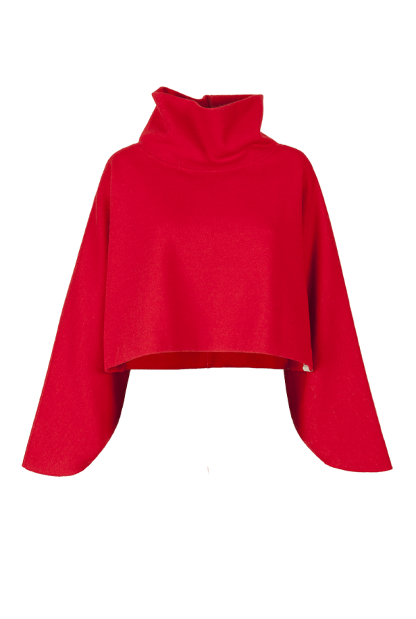 11. SOUND short collar sweater.Red low