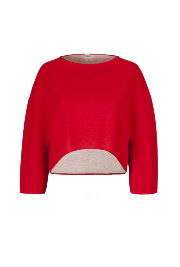6. MINERAL short sweater.Red low
